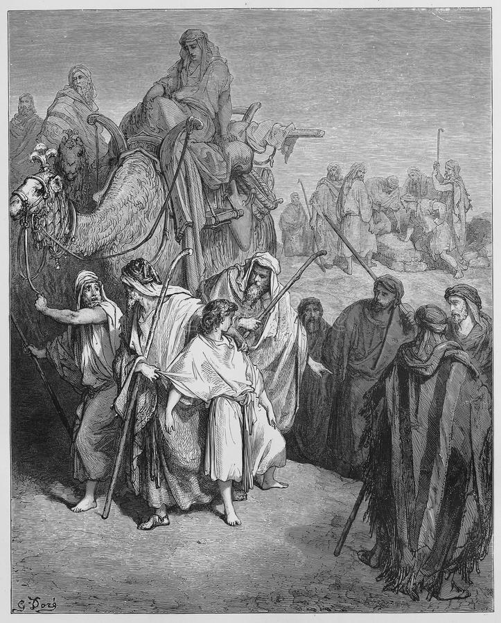 Joseph is sold Into slavery by his brothers. Picture from The Holy Scriptures, Old and New Testaments books collection published in 1885, Stuttgart-Germany