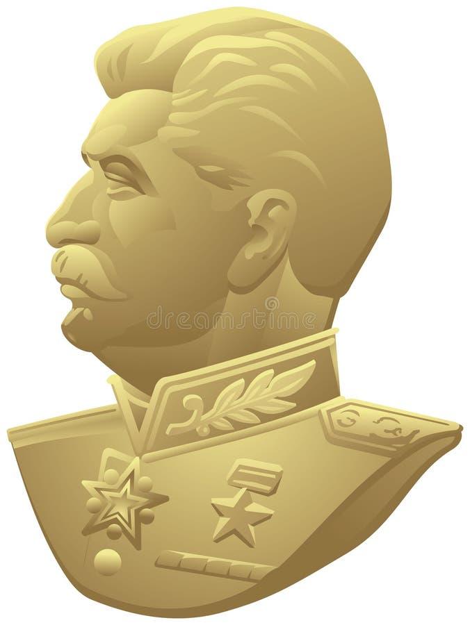 Joseph Stalin profile portrait in Marshal Uniform stock illustration