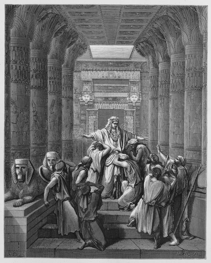 Joseph was called to his brothers. Picture from The Holy Scriptures, Old and New Testaments books collection published in 1885, Stuttgart-Germany. Drawings by