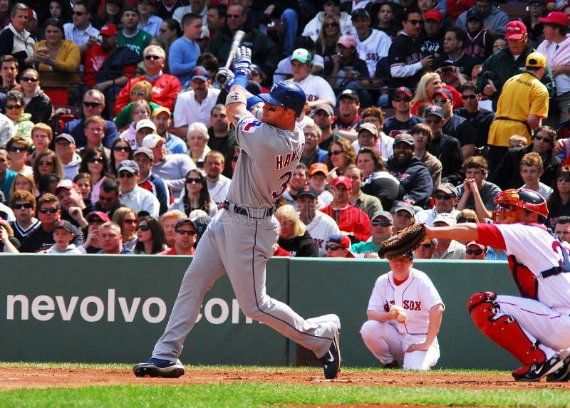 Josh Hamilton Texas Rangers. Texas Rangers Superstar slugger Josh Hamilton takes a cut at a pitch against the Boston Red Sox royalty free stock photos