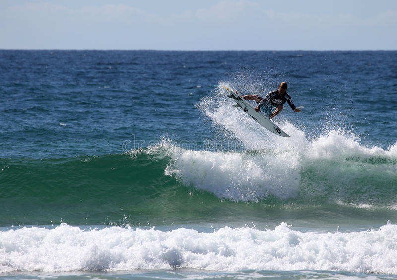 Josh Kerr - Australian Open Manly Australia. MANLY AUSTRALIA - FEBRUARY 17: Josh Kerr performs and aerial during competition in the Australian Surfing Open at stock photos