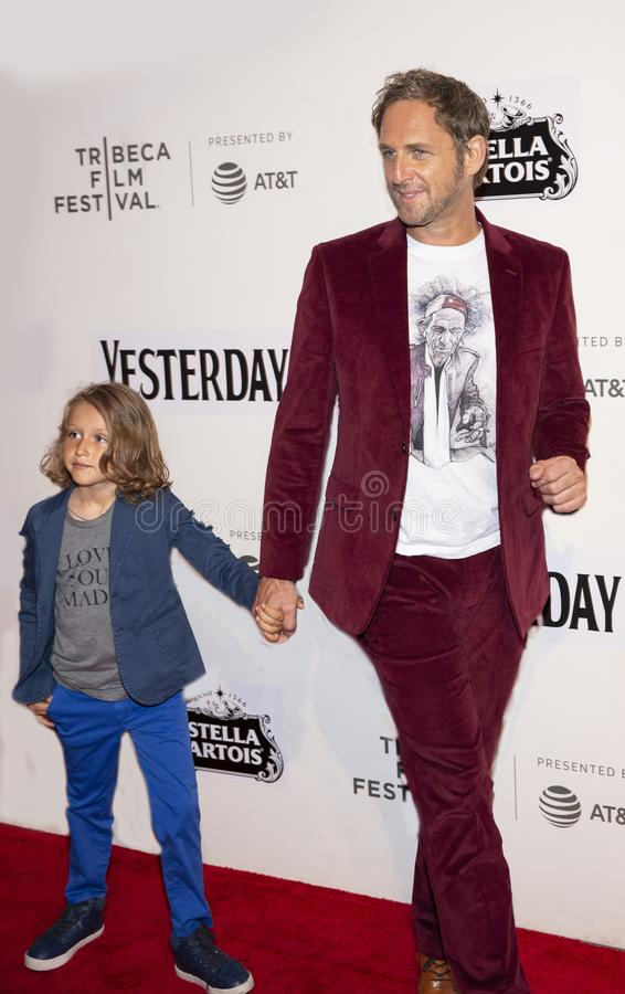 Josh Lucas at World Premiere of `Yesterday` at 2019 Tribeca Film Festival. Film actor Josh Lucas arrives with his son, Noah Rev Maurer, in tow at the World stock photo