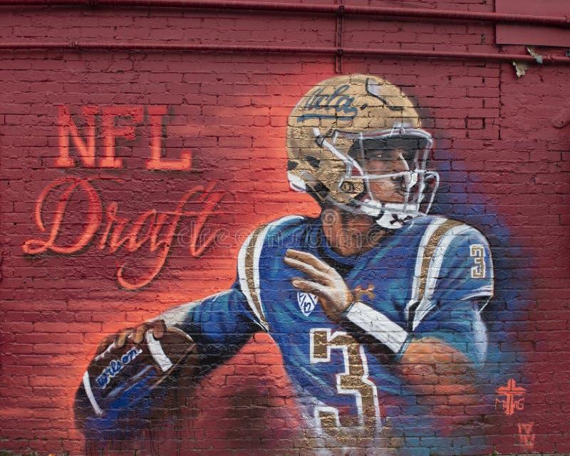 Josh Rosen NFL选秀2018壁画,达拉斯,得克萨斯 库存图片
