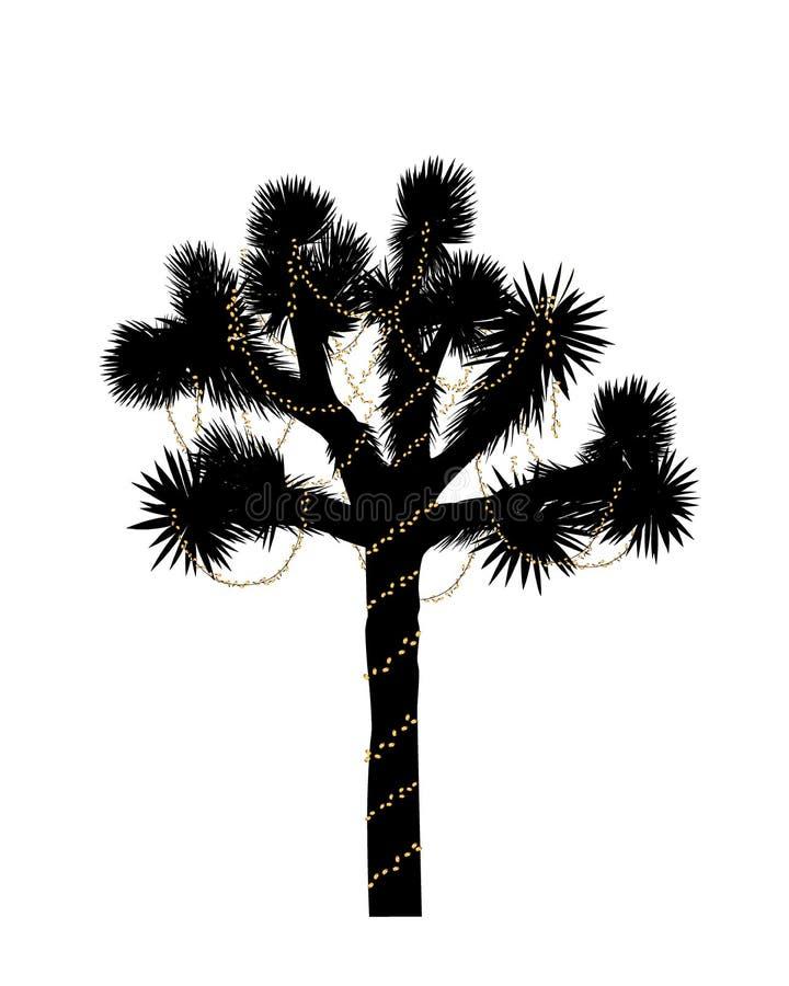 Joshua-Baumschattenbild verziert mit Weihnachtslichtern Auch im corel abgehobenen Betrag lizenzfreie abbildung
