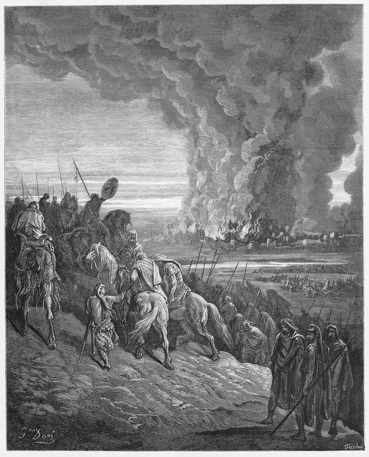 Joshua brennt die Stadt von Ai vektor abbildung