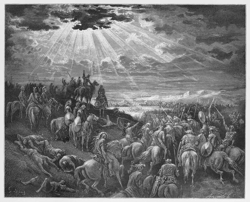 Joshua, der damit die Sonne noch betet, steht stock abbildung