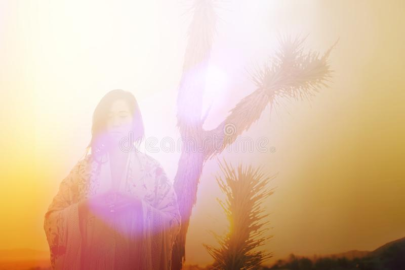 Joshua Tree Desert Sunrise Woman fotografia stock libera da diritti