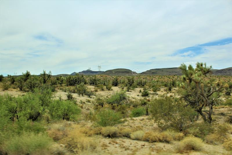 Joshua Tree Forest Parkway, Toneelroute 93, Arizona, Verenigde Staten stock foto's