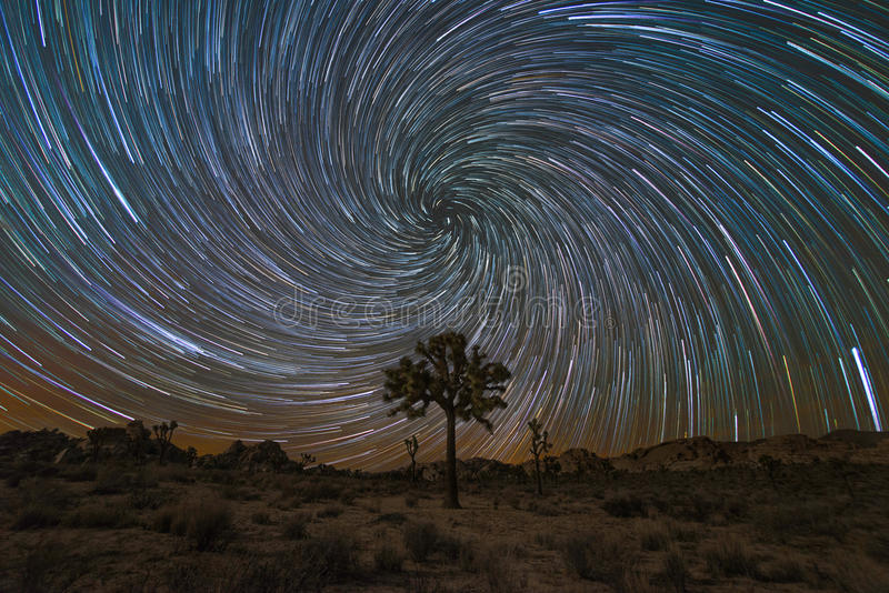 Joshua Tree Spiral Star Trails imagem de stock