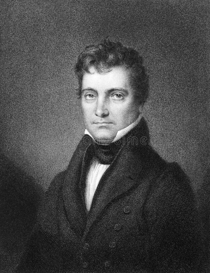 Josiah Stoddard Johnston. (1784-1833) on engraving from 1834. United States Representative and Senator from Louisiana. Engraved by J.B Longacre and published in stock photos