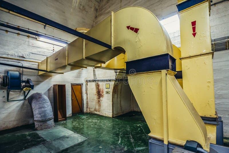 Josip Tito's bunker. Konjic, Bosnia and Herzegovina - August 25, 2015. air ducts in ARK (Atomska Ratna Komanda) Nuclear Command Bunker built between 1953 and royalty free stock image