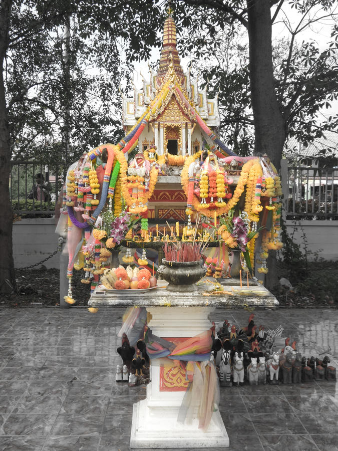 Joss house. Shrine of the household god. NongBuaLamPhu, Thailand royalty free stock photography