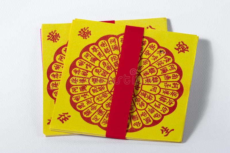 Joss Paper Chinese Tradition for passed away ancestor`s spirits royalty free stock images