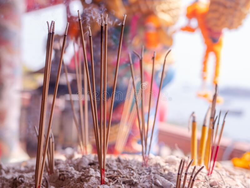 Joss sticks at Chinese Buddhist temple in Thailand stock image