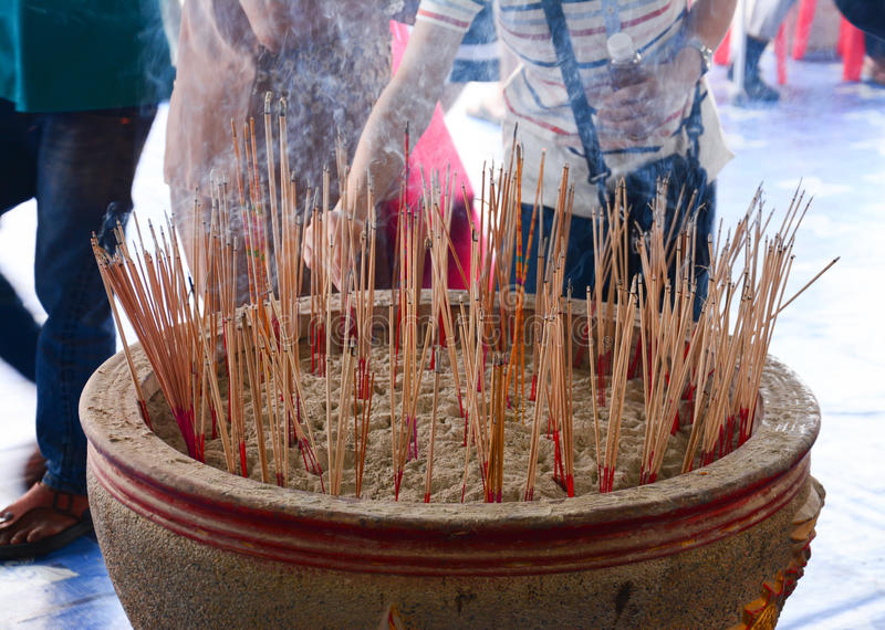 Joss sticks in to pot royalty free stock images