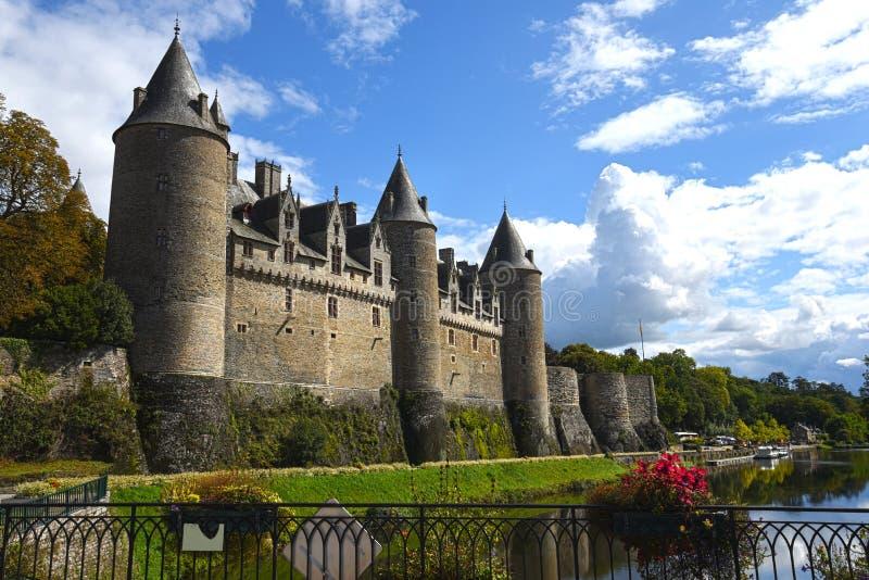 Josselinkasteel in Morbihan Bretagne Frankrijk stock foto's