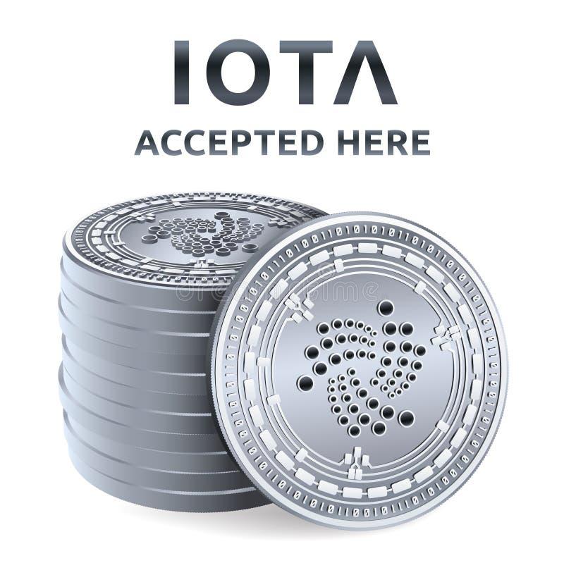 jota Akceptujący szyldowy emblemat Crypto waluta Sterta srebne monety z jota symbolem odizolowywającym na białym tle 3D isometric ilustracji