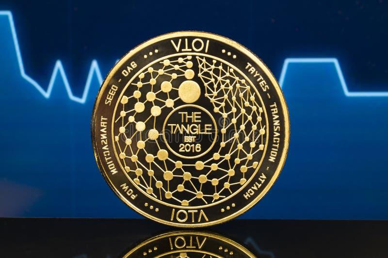 Jota is een moderne manier van uitwisseling en deze crypto munt stock afbeelding