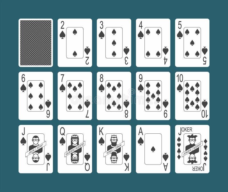 Jouant des pelles de cartes réglées illustration de vecteur