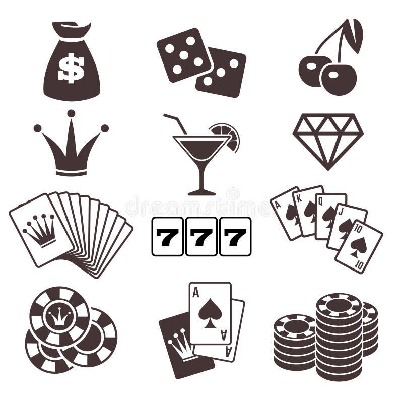 Jouant, jeu de carte de tisonnier, casino, icônes de vecteur de chance réglées illustration libre de droits