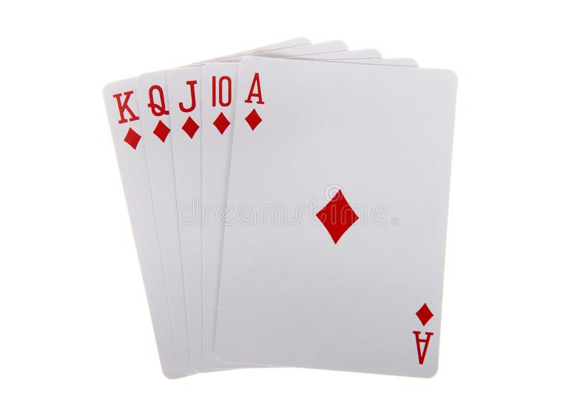 Jouant la quinte royale de cartes d'isolement sur le fond blanc image libre de droits