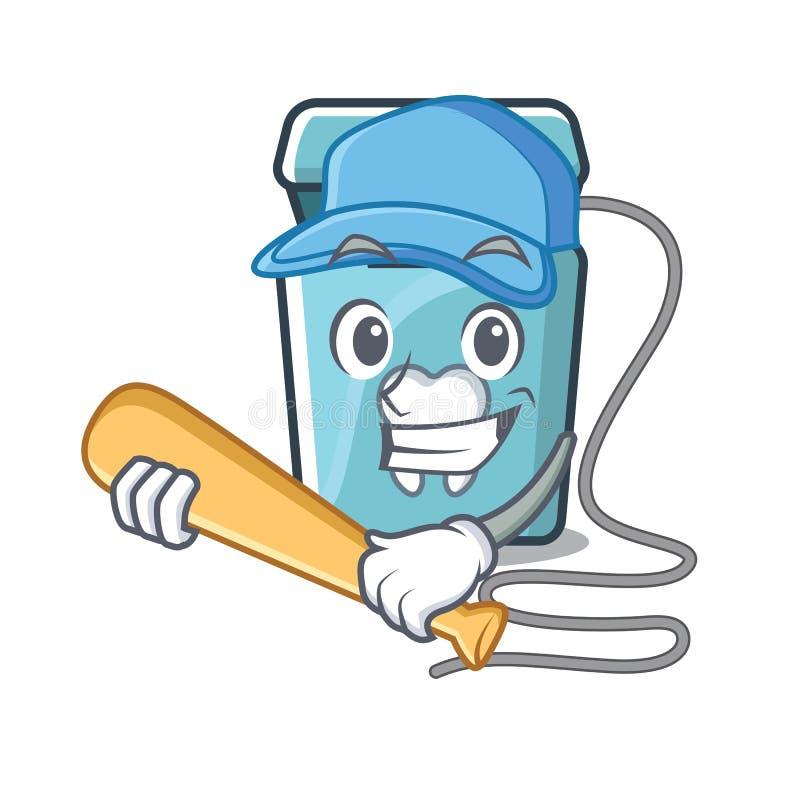 Jouant le fil dentaire de base-ball d'isolement avec le caractère illustration stock
