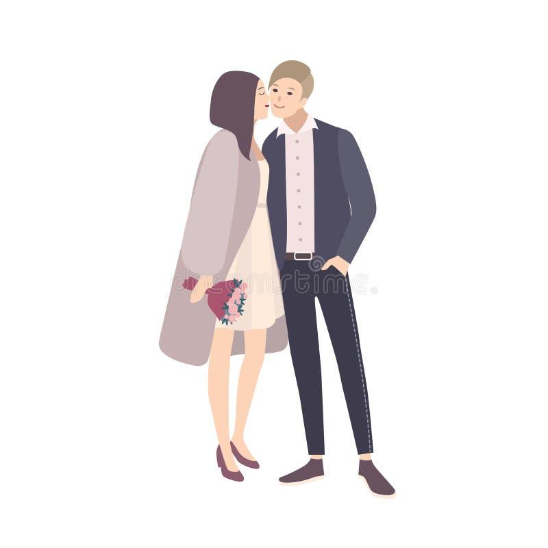 Joue de baiser du marié s de belle jeune mariée pendant la cérémonie de mariage Paires adorables d'homme et femme heureuse ou cou illustration de vecteur