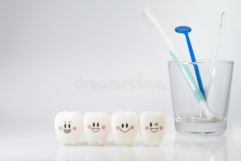 Joue des dents dans une humeur de sourire sur un fond blanc photos stock