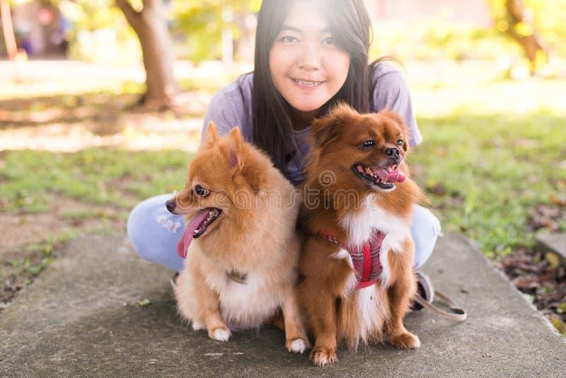 Jouer asiatique gai de fille de jeune adolescent et amusement heureux avec son chien au parc public photo libre de droits
