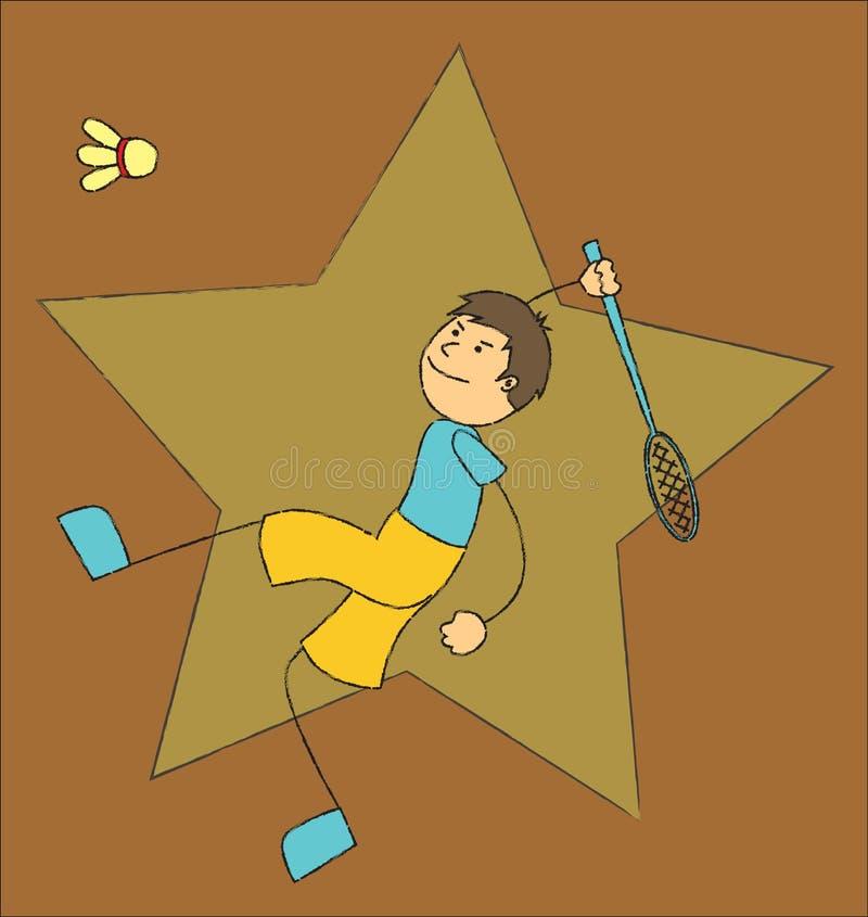 Jouer au badminton illustration de vecteur