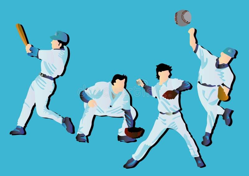 Jouer au base-ball illustration de vecteur