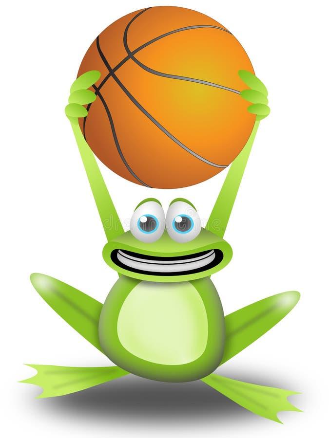 Jouer au basket-ball avec la grenouille illustration stock