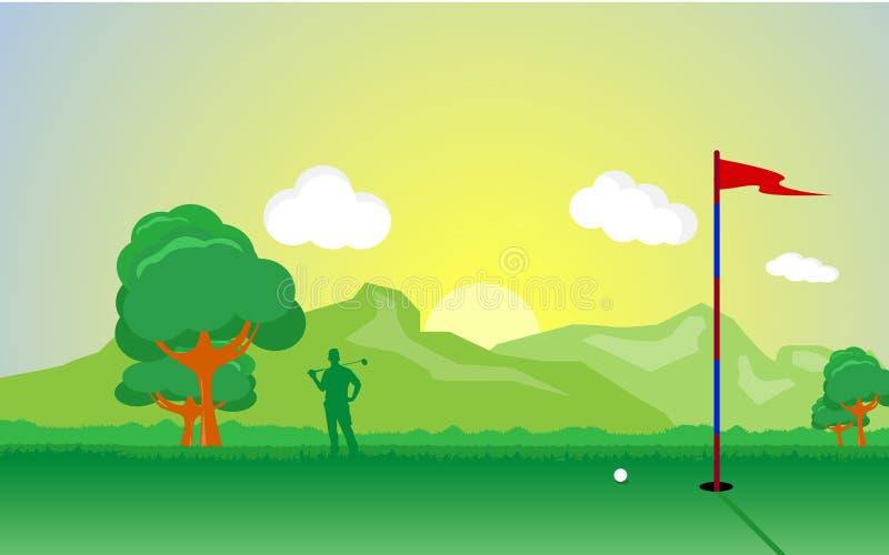 Jouer au golf illustration de vecteur