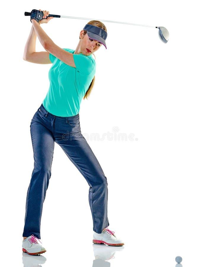Jouer au golf de golfeur de femme d'isolement images stock