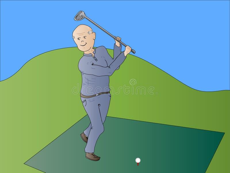 Jouer au golf de vieillard de vieil homme illustration de vecteur
