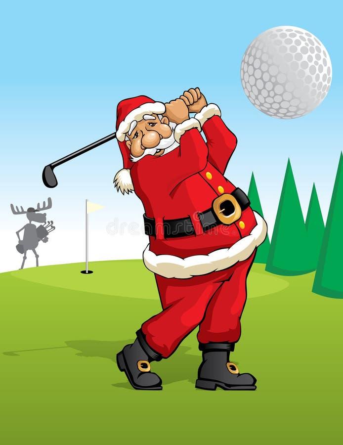 Jouer au golf du père noël illustration de vecteur