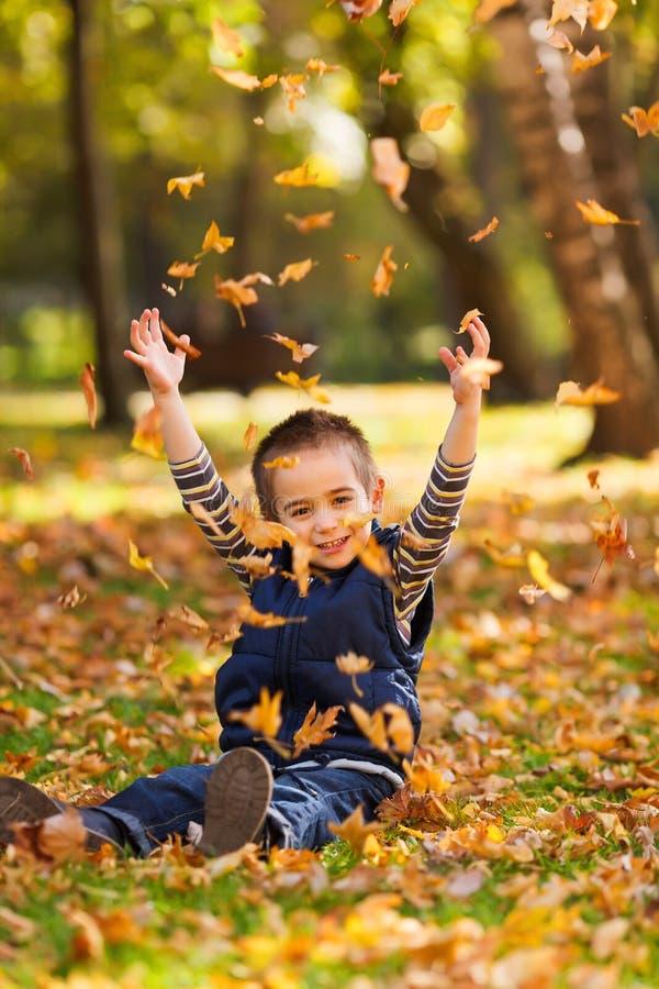 Jouer avec des feuilles en automne photo stock