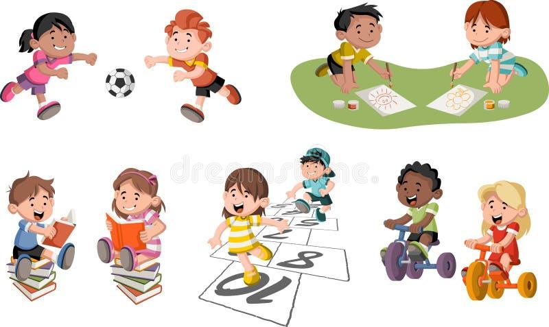 Jouer d'enfants de bande dessinée illustration libre de droits