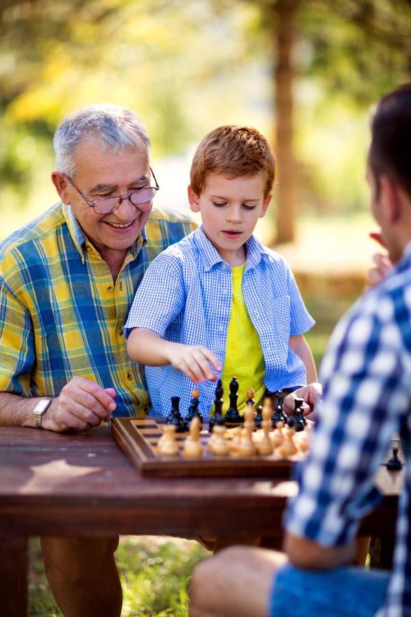 Jouer des échecs avec le petit-fils photographie stock libre de droits