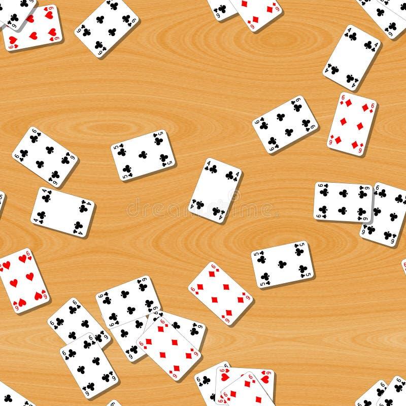 Jouer des cartes sur le fond sans couture de table en bois illustration libre de droits