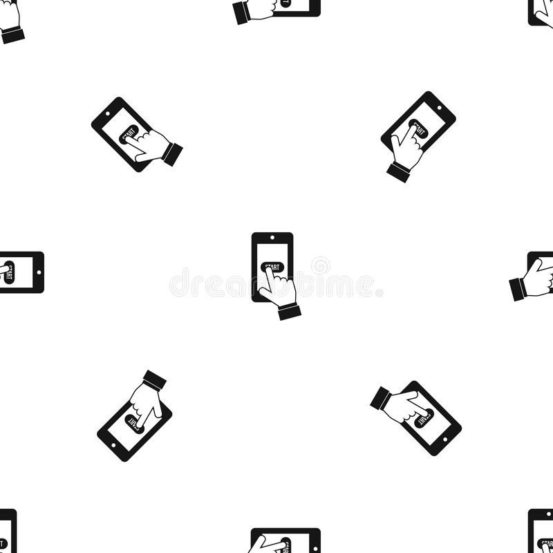 Jouer des jeux sur le noir sans couture de modèle de smartphone illustration libre de droits