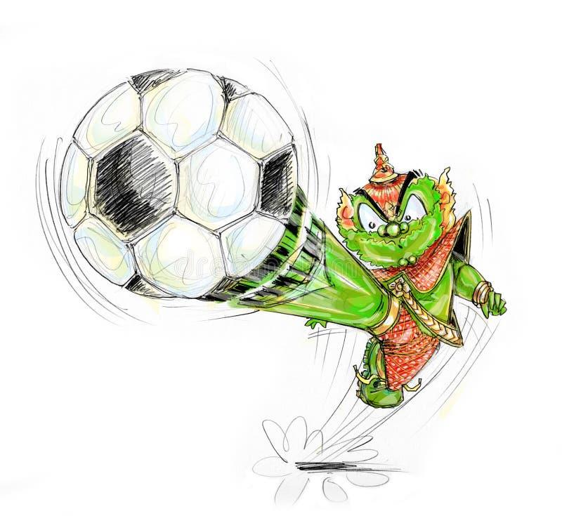Jouer la bande dessinée géante thaïlandaise du football illustration stock
