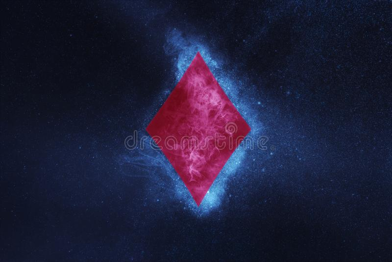 Jouer la carte Symbole de diamant Fond abstrait de ciel nocturne image libre de droits