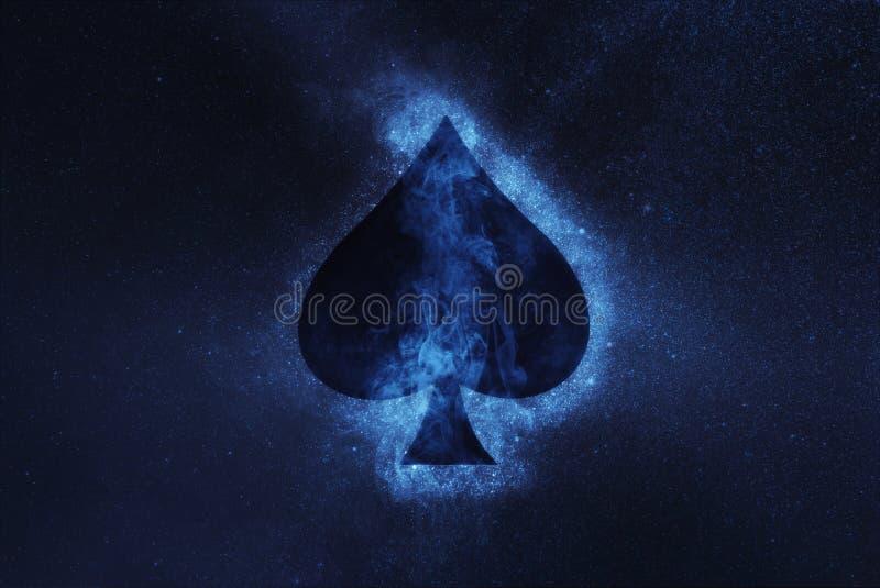 Jouer la carte Symbole de pelle Fond abstrait de ciel nocturne photographie stock libre de droits