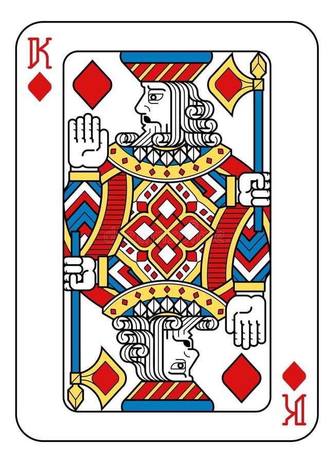 Jouer le noir bleu du Roi Diamonds Yellow Red de carte illustration stock