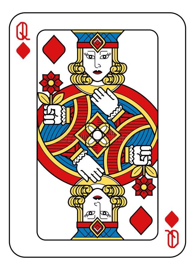 Jouer le noir bleu rouge de jaune de diamants de la Reine de carte illustration libre de droits
