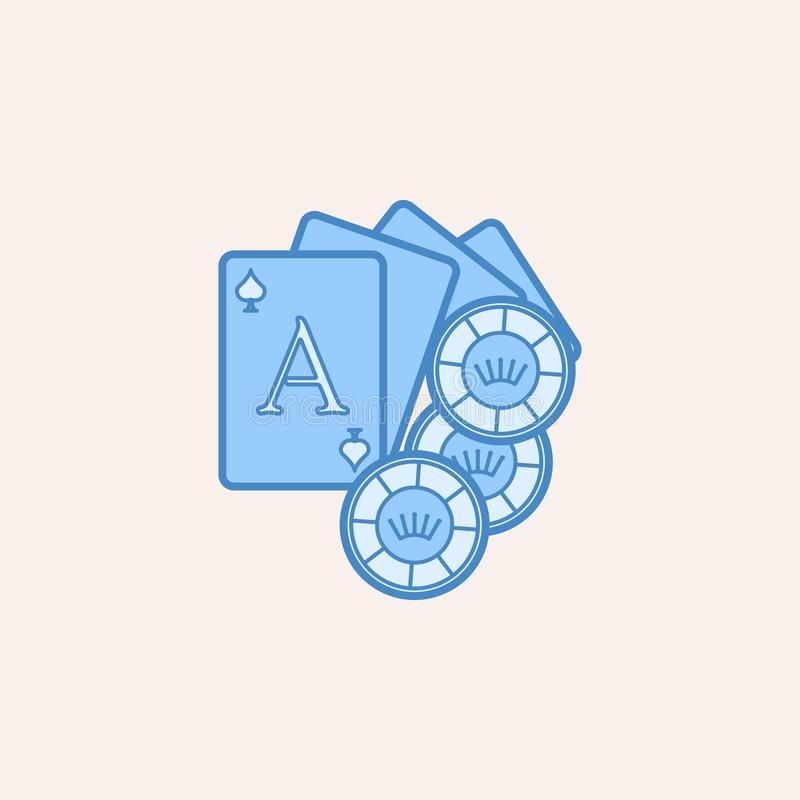 jouer les cartes et l'icône de puces Élément d'icône de casino pour les apps mobiles de concept et de Web Mettez en place le cont illustration de vecteur