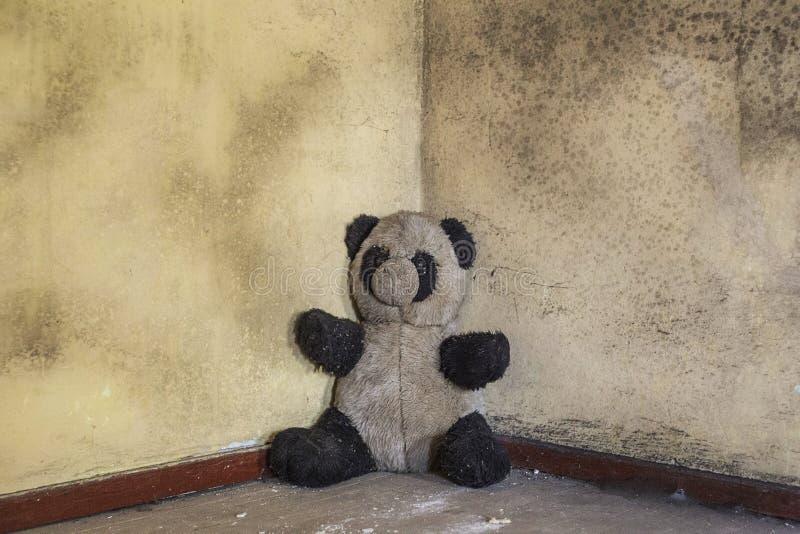 Jouet abandonné sale de panda dans le vieux bâtiment militaire photographie stock