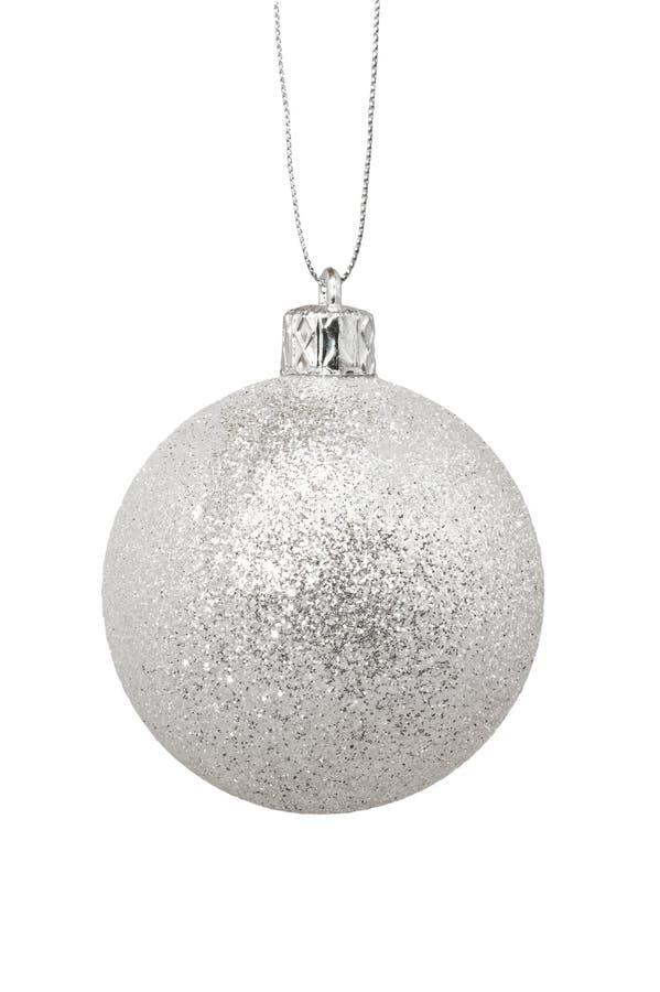 Jouet argenté de Noël, d'isolement sur le fond blanc photographie stock