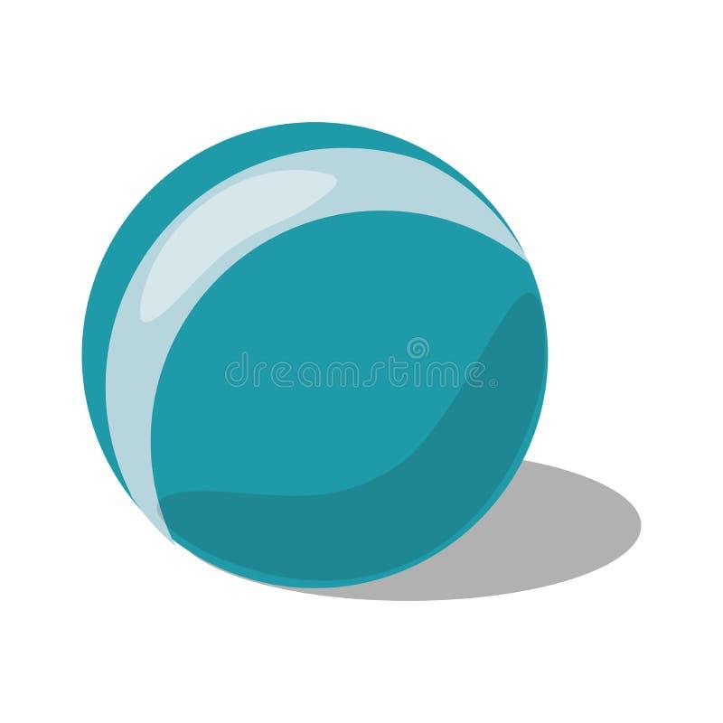 Jouet bleu de boule avec la bande d'isolement sur le fond blanc illustration libre de droits